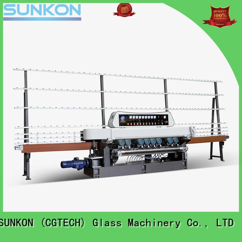 SUNKON Brand display glass function straight bevelled edger      glass beveling machine plc